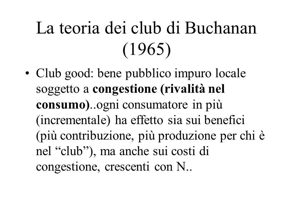 La teoria dei club di Buchanan (1965) Club good: bene pubblico impuro locale soggetto a congestione (rivalità nel consumo)..ogni consumatore in più (incrementale) ha effetto sia sui benefici (più contribuzione, più produzione per chi è nel club), ma anche sui costi di congestione, crescenti con N..