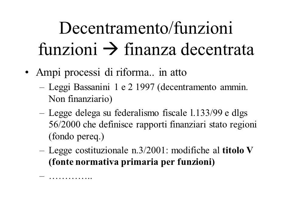 Decentramento/funzioni funzioni finanza decentrata Ampi processi di riforma..