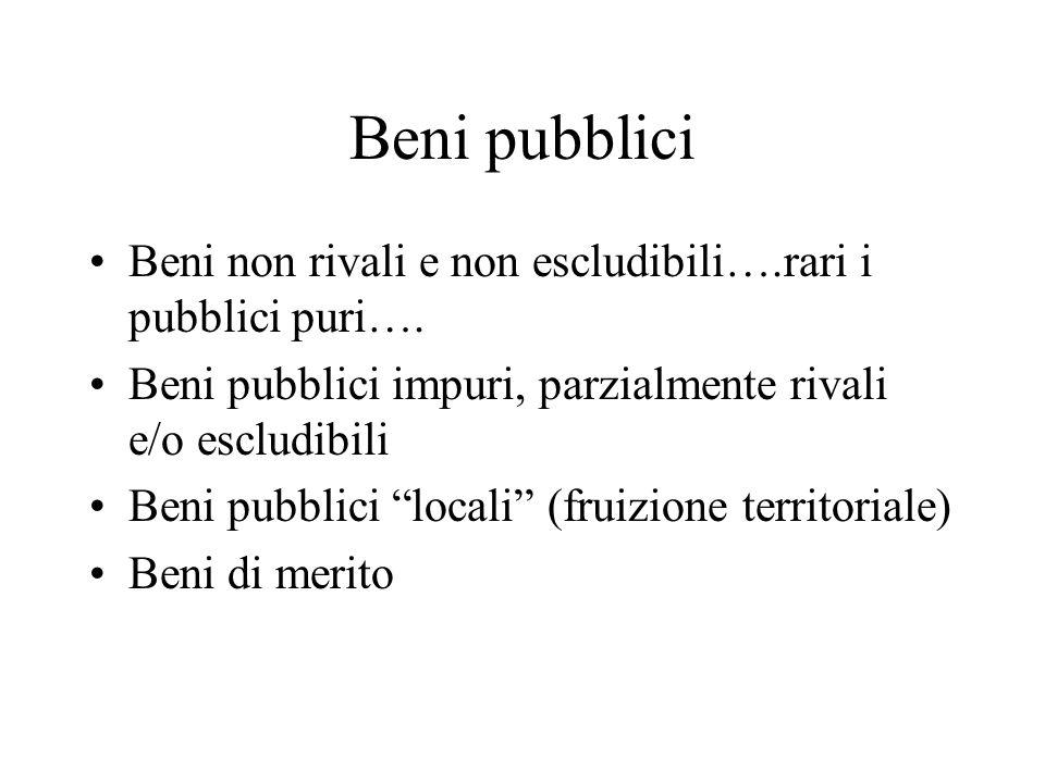 Beni pubblici Beni non rivali e non escludibili….rari i pubblici puri….