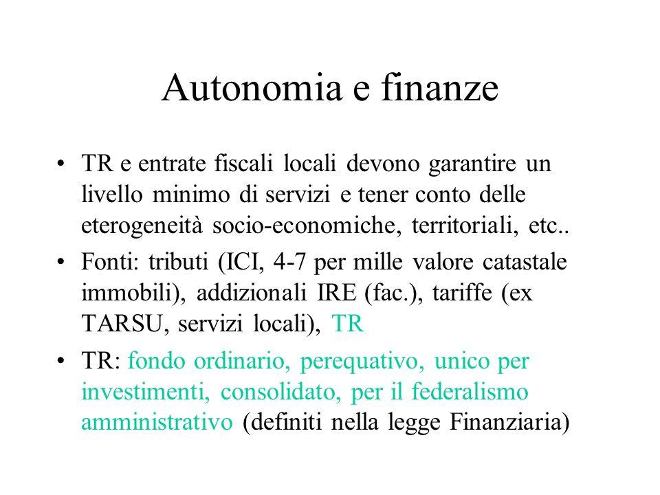 Autonomia e finanze TR e entrate fiscali locali devono garantire un livello minimo di servizi e tener conto delle eterogeneità socio-economiche, territoriali, etc..