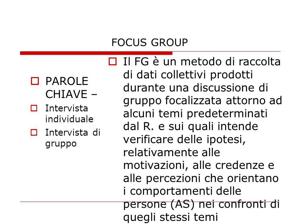 FOCUS GROUP PAROLE CHIAVE – Intervista individuale Intervista di gruppo Il FG è un metodo di raccolta di dati collettivi prodotti durante una discussi