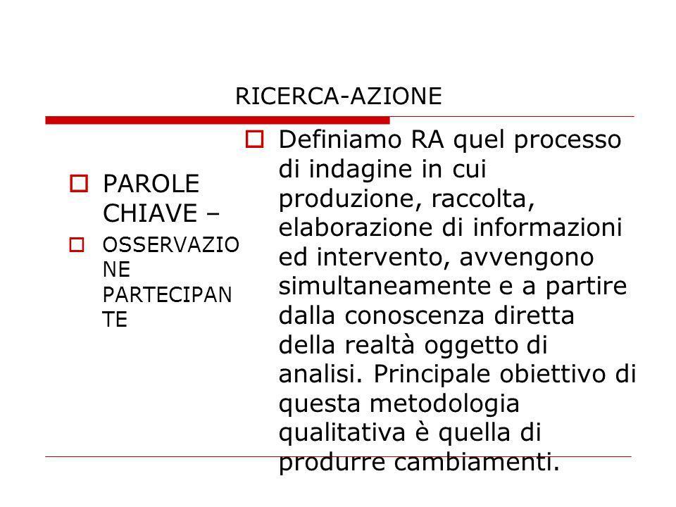 RICERCA-AZIONE PAROLE CHIAVE – OSSERVAZIO NE PARTECIPAN TE Definiamo RA quel processo di indagine in cui produzione, raccolta, elaborazione di informa