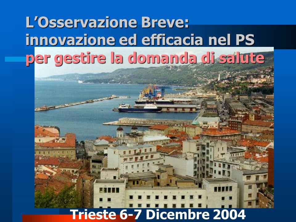 LOsservazione Breve: innovazione ed efficacia nel PS per gestire la domanda di salute Trieste 6-7 Dicembre 2004