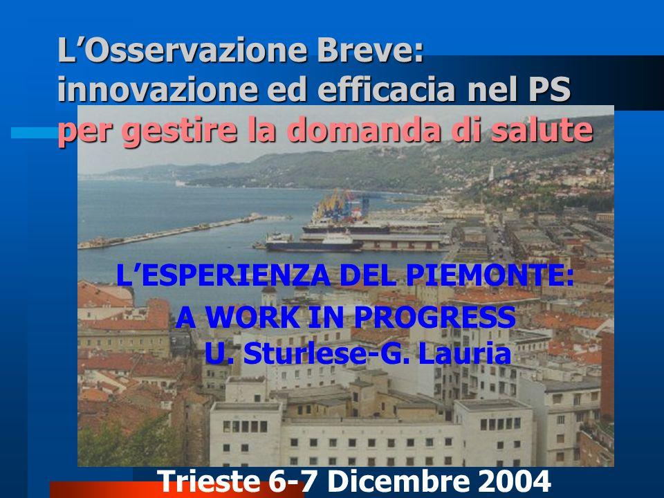 LOsservazione Breve: innovazione ed efficacia nel PS per gestire la domanda di salute Trieste 6-7 Dicembre 2004 LESPERIENZA DEL PIEMONTE: A WORK IN PR