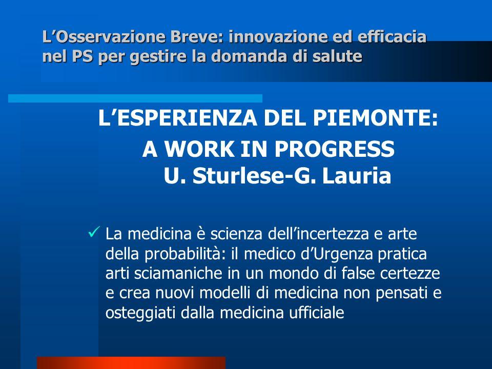 LOsservazione Breve: innovazione ed efficacia nel PS per gestire la domanda di salute LESPERIENZA DEL PIEMONTE: A WORK IN PROGRESS U. Sturlese-G. Laur