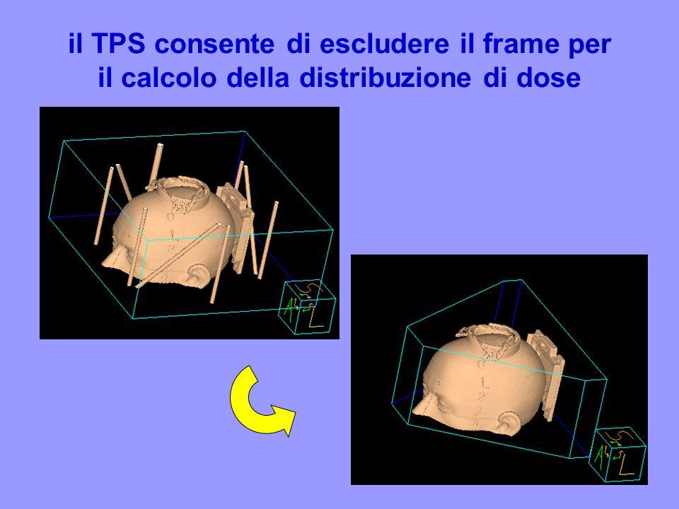 il TPS consente di escludere il frame per il calcolo della distribuzione di dose