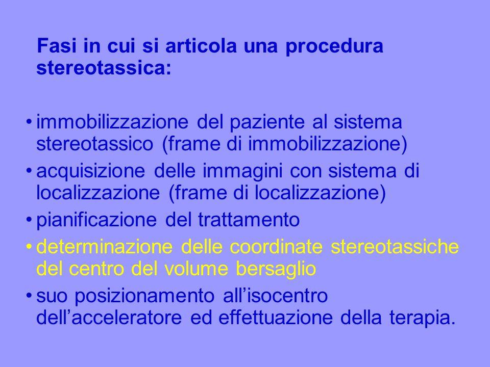 Fasi in cui si articola una procedura stereotassica: immobilizzazione del paziente al sistema stereotassico (frame di immobilizzazione) acquisizione d