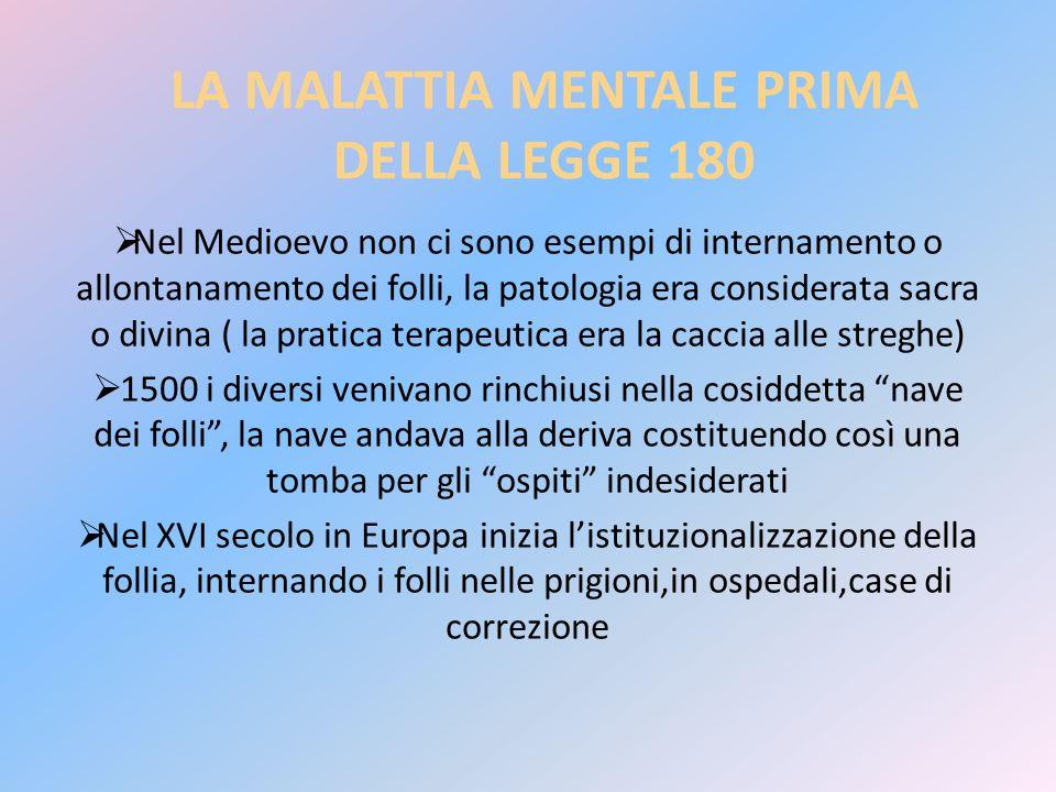 LA MALATTIA MENTALE PRIMA DELLA LEGGE 180 Nel Medioevo non ci sono esempi di internamento o allontanamento dei folli, la patologia era considerata sac
