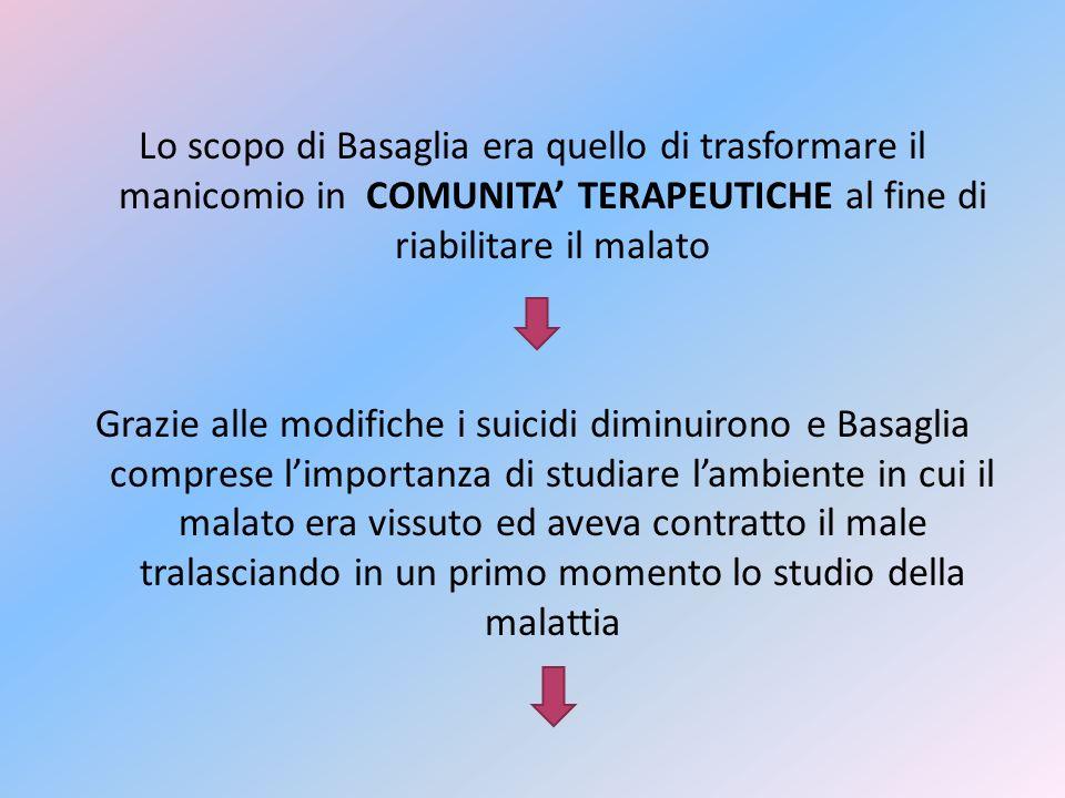 Lo scopo di Basaglia era quello di trasformare il manicomio in COMUNITA TERAPEUTICHE al fine di riabilitare il malato Grazie alle modifiche i suicidi
