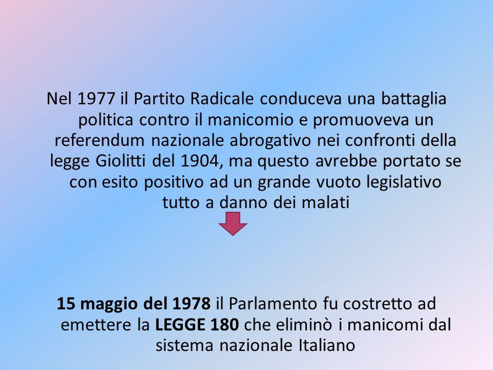 Nel 1977 il Partito Radicale conduceva una battaglia politica contro il manicomio e promuoveva un referendum nazionale abrogativo nei confronti della