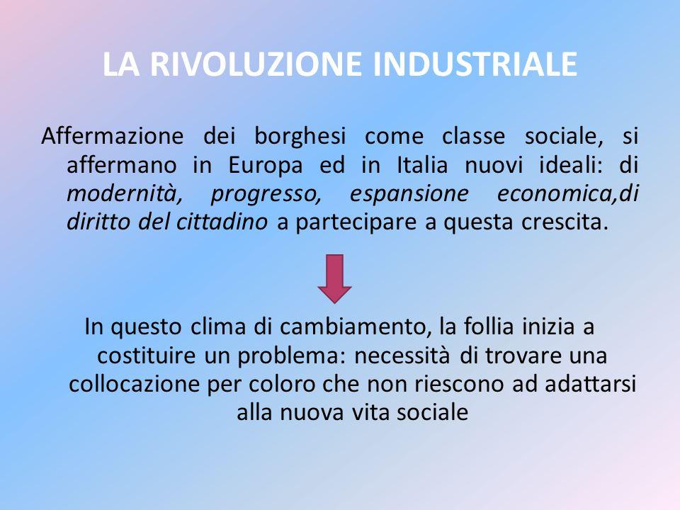 LA RIVOLUZIONE INDUSTRIALE Affermazione dei borghesi come classe sociale, si affermano in Europa ed in Italia nuovi ideali: di modernità, progresso, e