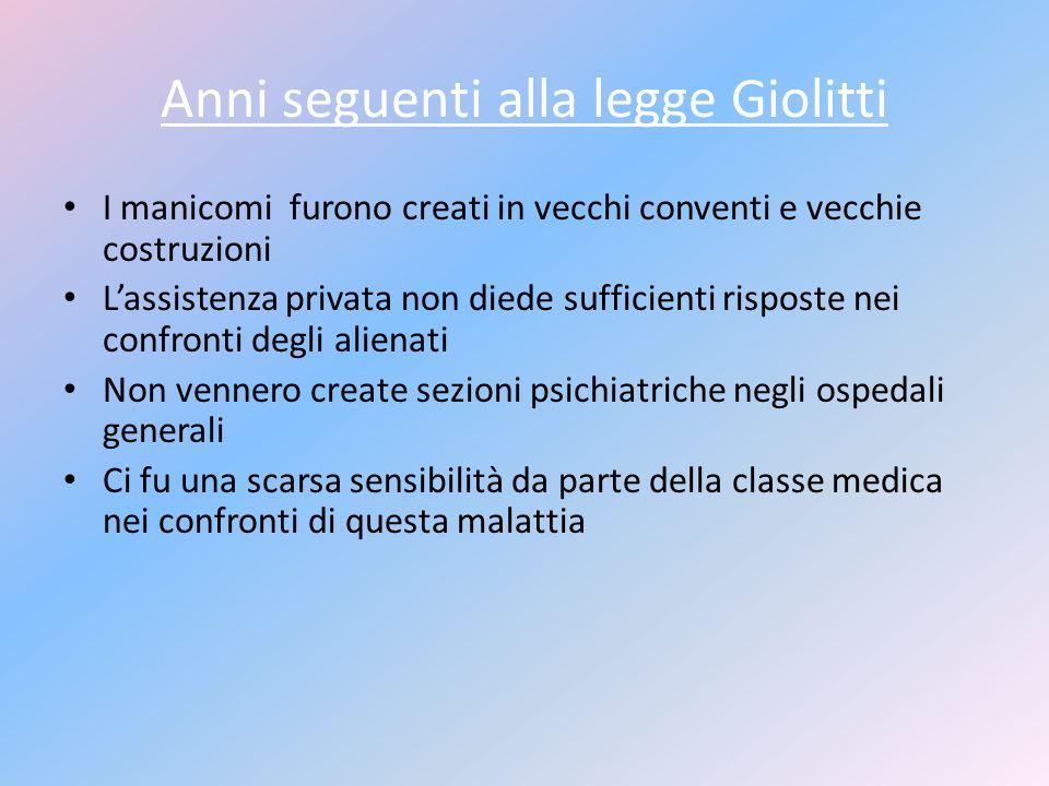 Anni seguenti alla legge Giolitti I manicomi furono creati in vecchi conventi e vecchie costruzioni Lassistenza privata non diede sufficienti risposte