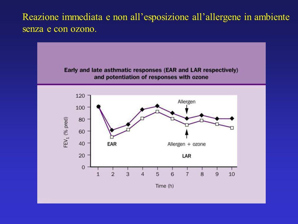 Reazione immediata e non allesposizione allallergene in ambiente senza e con ozono.