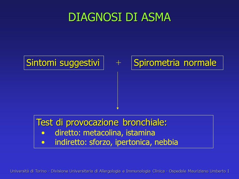 DIAGNOSI DI ASMA Sintomi suggestivi Spirometria normale + Test di provocazione bronchiale: diretto: metacolina, istamina indiretto: sforzo, ipertonica