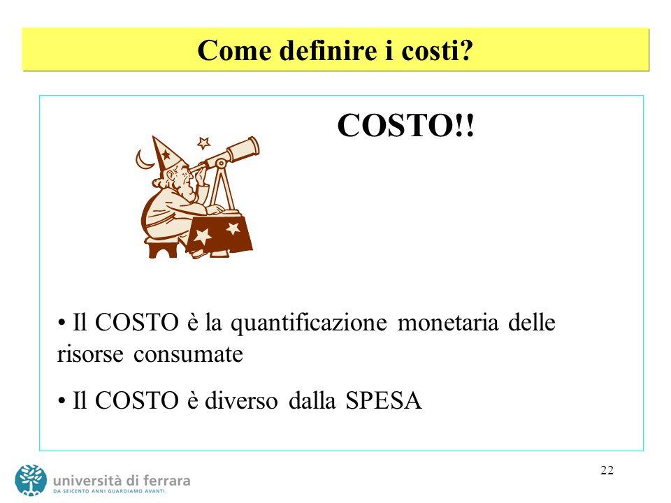 22 Come definire i costi? COSTO!! Il COSTO è la quantificazione monetaria delle risorse consumate Il COSTO è diverso dalla SPESA