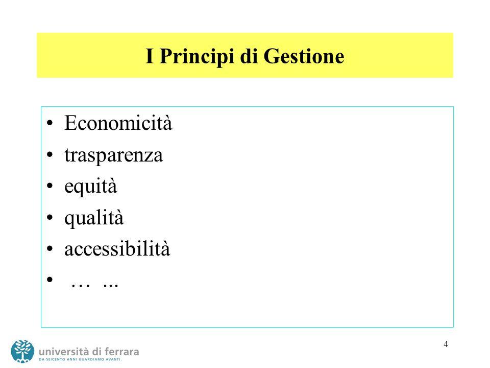 4 I Principi di Gestione Economicità trasparenza equità qualità accessibilità …...