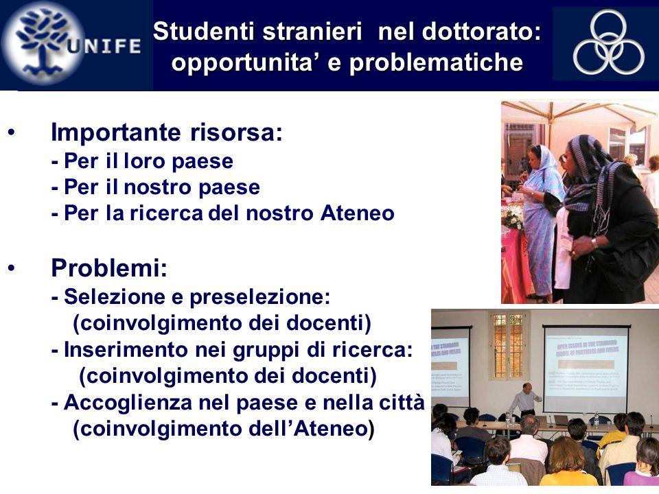 12 Studenti stranieri nel dottorato: opportunita e problematiche Importante risorsa: - Per il loro paese - Per il nostro paese - Per la ricerca del no