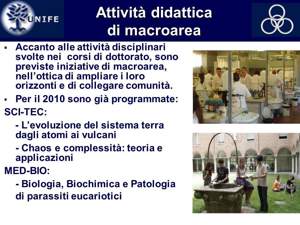 15 Attività didattica di macroarea Accanto alle attività disciplinari svolte nei corsi di dottorato, sono previste iniziative di macroarea, nellottica