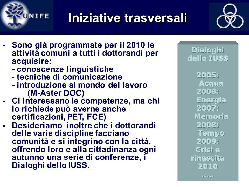 16 Iniziative trasversali Sono già programmate per il 2010 le attività comuni a tutti i dottorandi per acquisire: - conoscenze linguistiche - tecniche