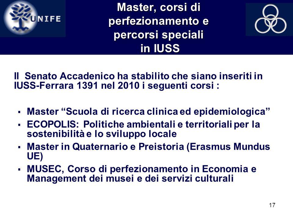 17 Master, corsi di perfezionamento e percorsi speciali in IUSS Il Senato Accadenico ha stabilito che siano inseriti in IUSS-Ferrara 1391 nel 2010 i s