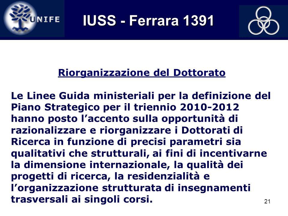 21 IUSS - Ferrara 1391 IUSS - Ferrara 1391 Riorganizzazione del Dottorato Le Linee Guida ministeriali per la definizione del Piano Strategico per il t