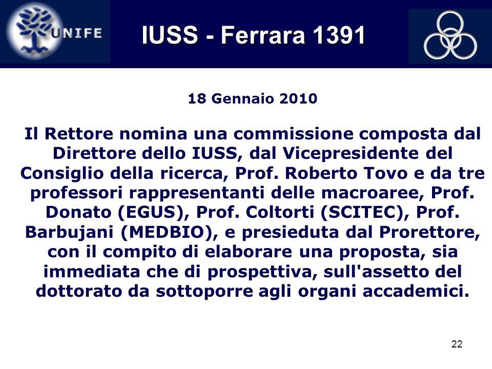 22 18 Gennaio 2010 Il Rettore nomina una commissione composta dal Direttore dello IUSS, dal Vicepresidente del Consiglio della ricerca, Prof. Roberto