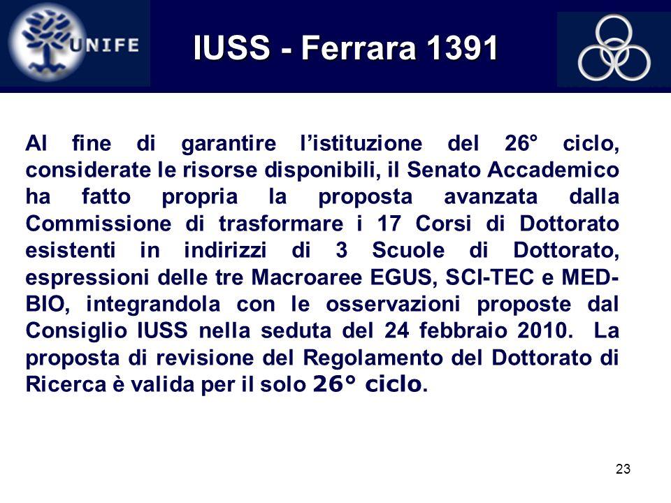 23 IUSS - Ferrara 1391 IUSS - Ferrara 1391 Al fine di garantire listituzione del 26° ciclo, considerate le risorse disponibili, il Senato Accademico h