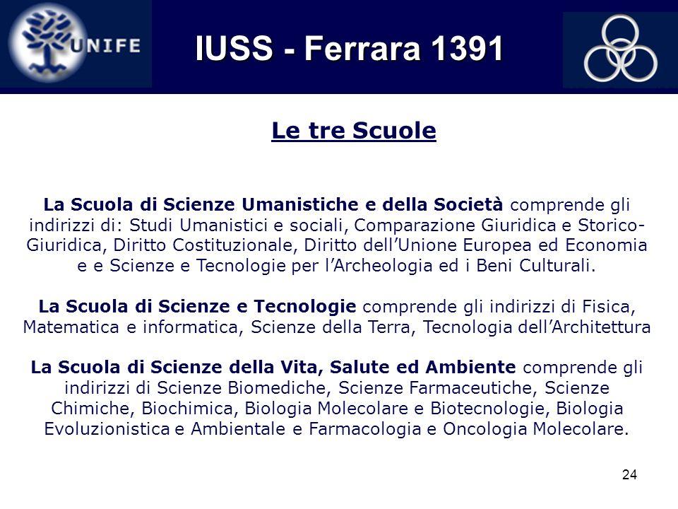 24 IUSS - Ferrara 1391 IUSS - Ferrara 1391 La Scuola di Scienze Umanistiche e della Società comprende gli indirizzi di: Studi Umanistici e sociali, Co