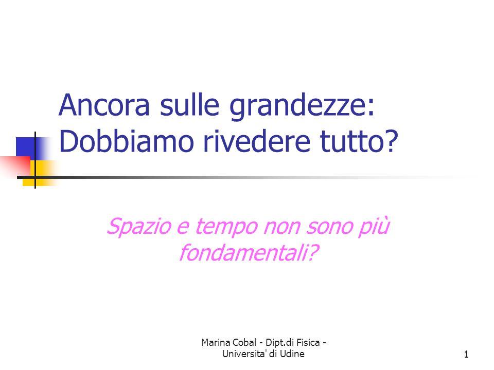 Marina Cobal - Dipt.di Fisica - Universita' di Udine1 Ancora sulle grandezze: Dobbiamo rivedere tutto? Spazio e tempo non sono più fondamentali?