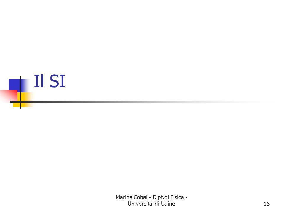 Marina Cobal - Dipt.di Fisica - Universita' di Udine16 Il SI
