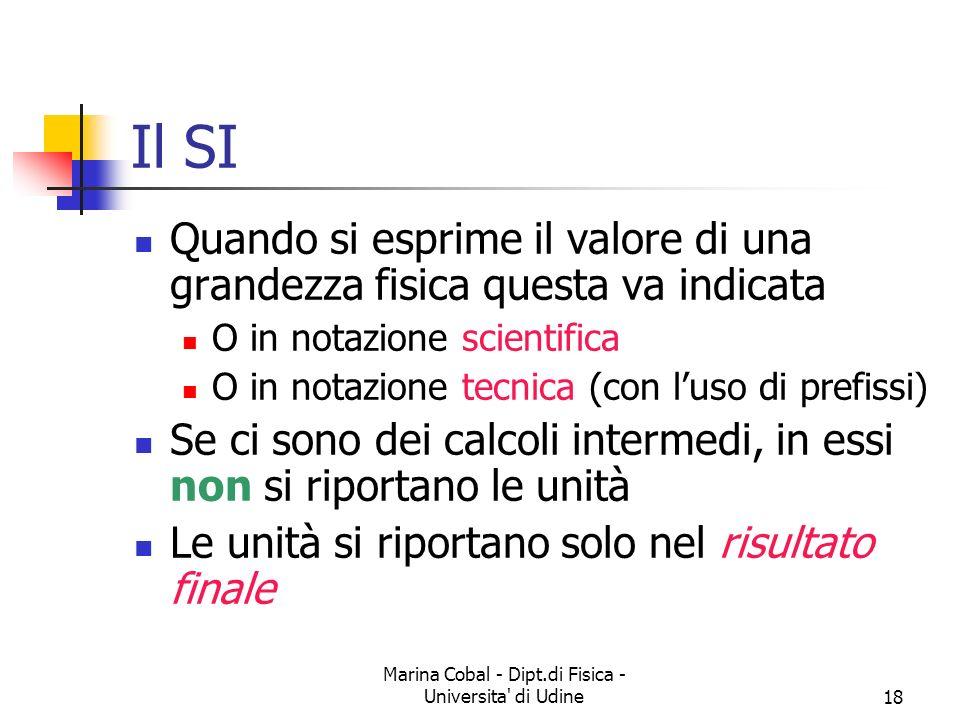 Marina Cobal - Dipt.di Fisica - Universita' di Udine18 Il SI Quando si esprime il valore di una grandezza fisica questa va indicata O in notazione sci