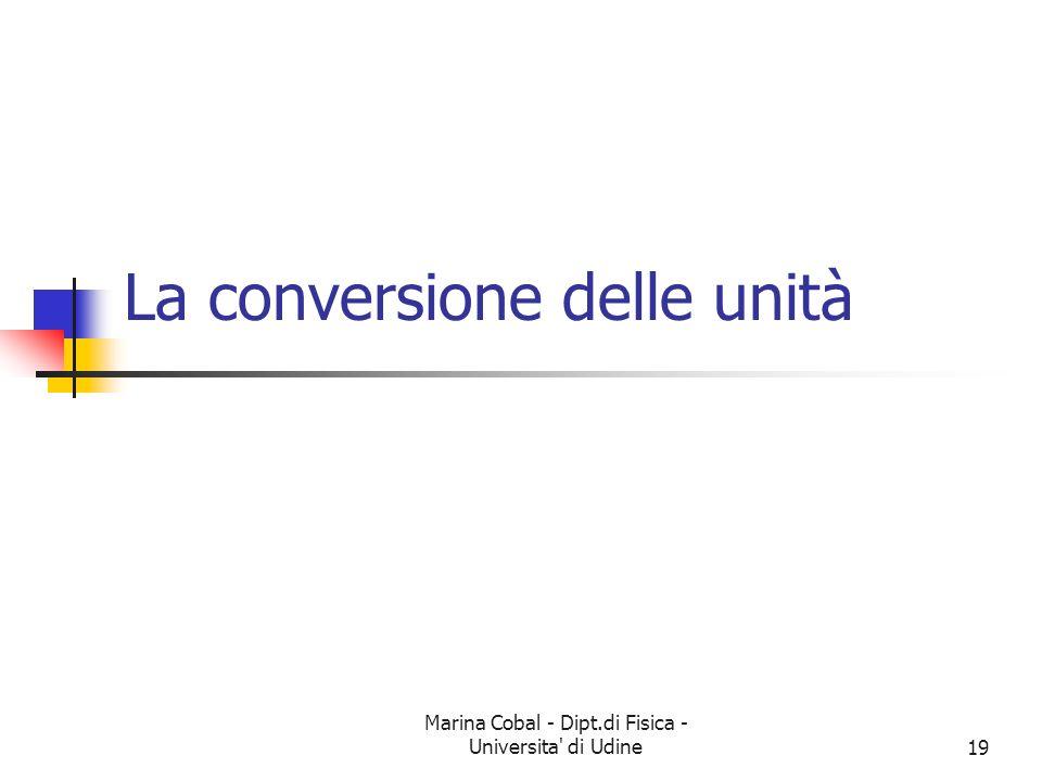 Marina Cobal - Dipt.di Fisica - Universita' di Udine19 La conversione delle unità