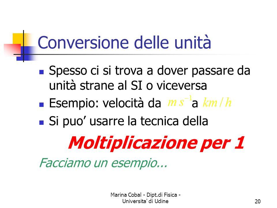 Marina Cobal - Dipt.di Fisica - Universita' di Udine20 Conversione delle unità Spesso ci si trova a dover passare da unità strane al SI o viceversa Es
