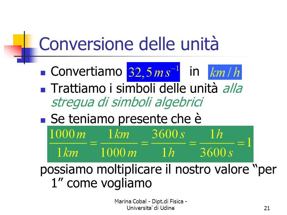 Marina Cobal - Dipt.di Fisica - Universita' di Udine21 Conversione delle unità Convertiamo in Trattiamo i simboli delle unità alla stregua di simboli