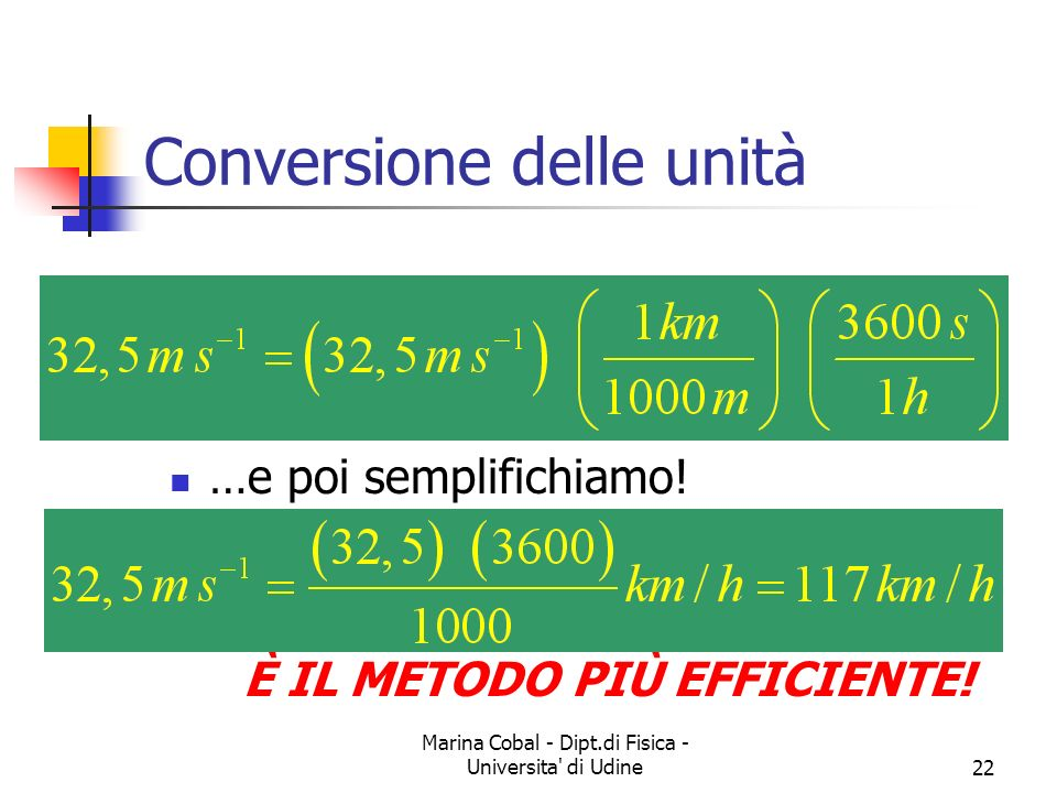 Marina Cobal - Dipt.di Fisica - Universita' di Udine22 Conversione delle unità …e poi semplifichiamo! È IL METODO PIÙ EFFICIENTE!