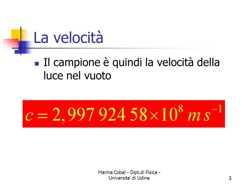 Marina Cobal - Dipt.di Fisica - Universita' di Udine3 La velocità Il campione è quindi la velocità della luce nel vuoto