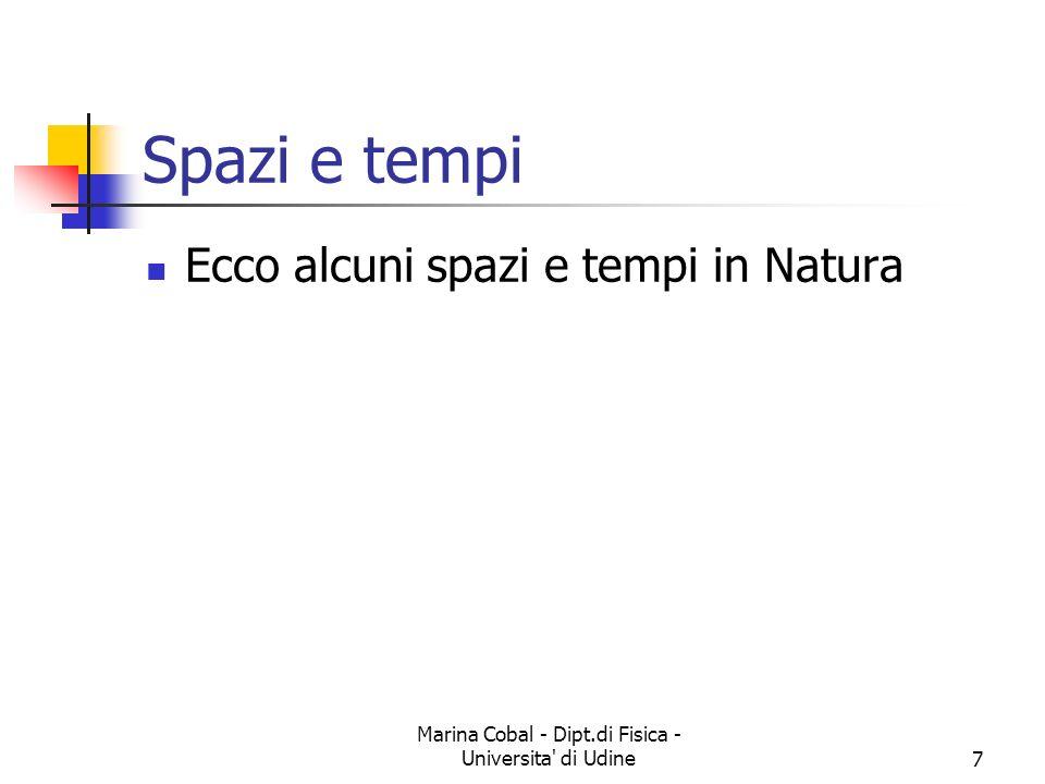 Marina Cobal - Dipt.di Fisica - Universita' di Udine7 Spazi e tempi Ecco alcuni spazi e tempi in Natura