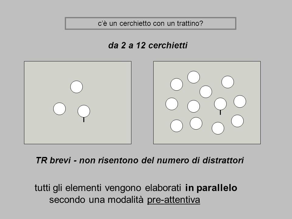cè un cerchietto con un trattino? da 2 a 12 cerchietti TR brevi - non risentono del numero di distrattori tutti gli elementi vengono elaborati in para