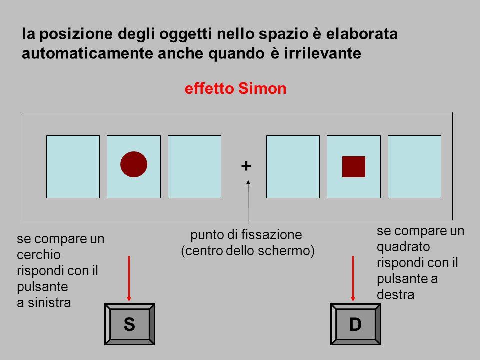 + SD effetto Simon la posizione degli oggetti nello spazio è elaborata automaticamente anche quando è irrilevante punto di fissazione (centro dello sc