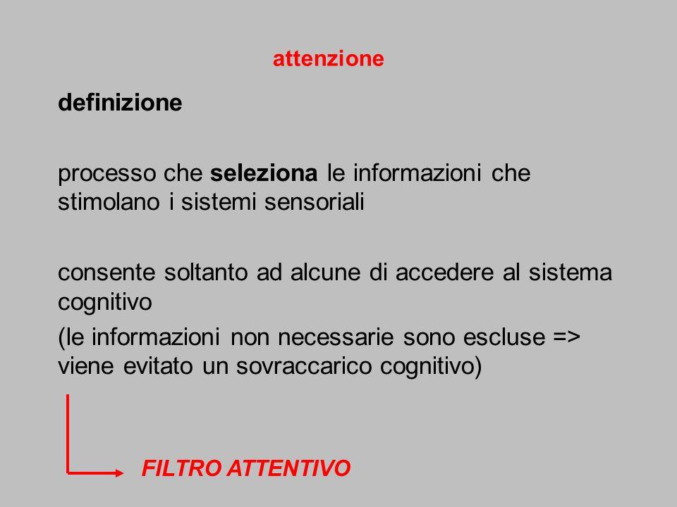 definizione processo che seleziona le informazioni che stimolano i sistemi sensoriali consente soltanto ad alcune di accedere al sistema cognitivo (le