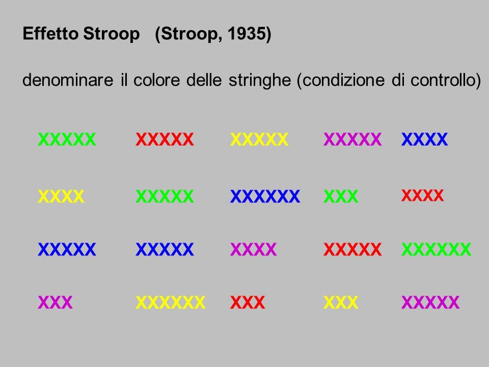 Effetto Stroop (Stroop, 1935) denominare il colore delle stringhe (condizione di controllo) XXXXX XXX XXXXX XXXX XXXXX XXXXXX XXXXXXXX XXXXX XXXXXX XX