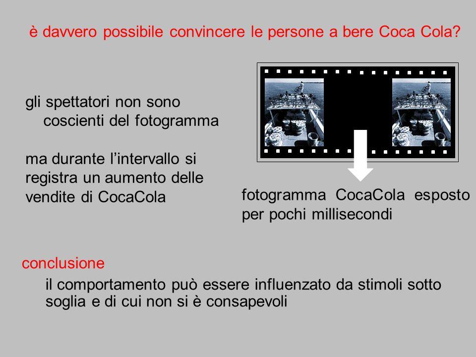 gli spettatori non sono coscienti del fotogramma ma durante lintervallo si registra un aumento delle vendite di CocaCola è davvero possibile convincer