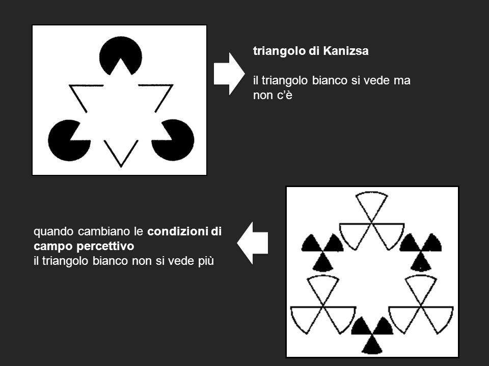 triangolo di Kanizsa il triangolo bianco si vede ma non cè quando cambiano le condizioni di campo percettivo il triangolo bianco non si vede più
