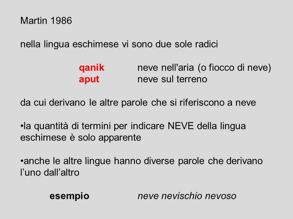 Whorf 1940 contrappone la lingua degli Eschimesi e le lingue europee per il numero di termini per indicare la NEVE Eschimesimolti termini per indicare