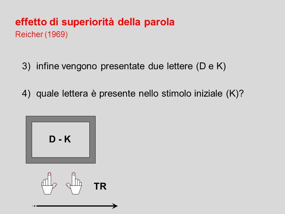 2)viene presentata una configurazione mascherante XXXXXXX effetto di superiorità della parola Reicher (1969) 1)sullo schermo sono presentate per pochi