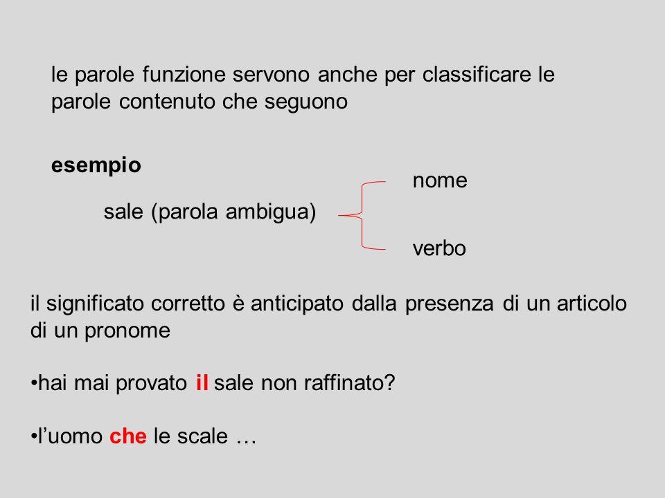 sintattica identificazione delle parole funzione (articoli, preposizioni, pronomi, congiunzioni….) esempio se cè Artsegue SN (nome oppure nome + agget