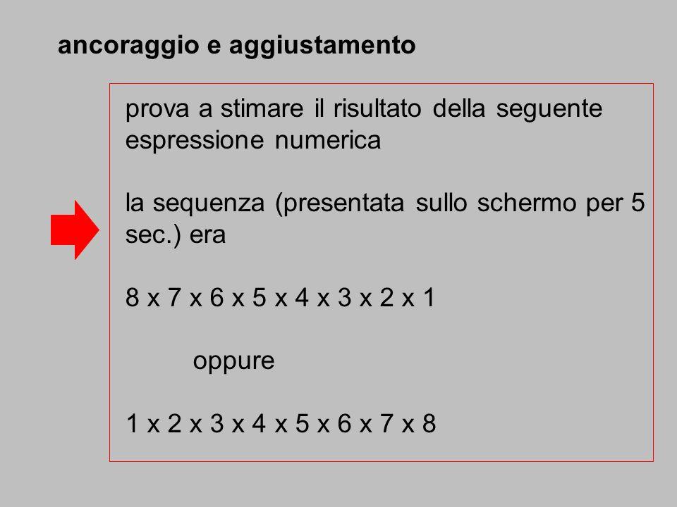 ancoraggio e aggiustamento prova a stimare il risultato della seguente espressione numerica la sequenza (presentata sullo schermo per 5 sec.) era 8 x