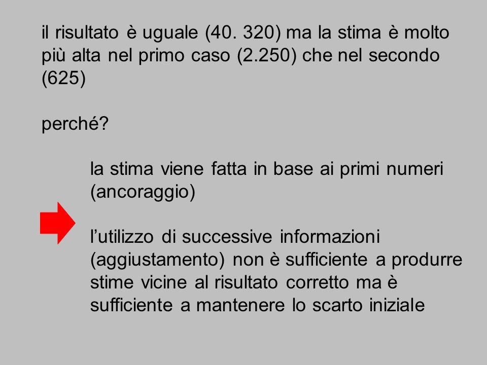 il risultato è uguale (40. 320) ma la stima è molto più alta nel primo caso (2.250) che nel secondo (625) perché? la stima viene fatta in base ai prim