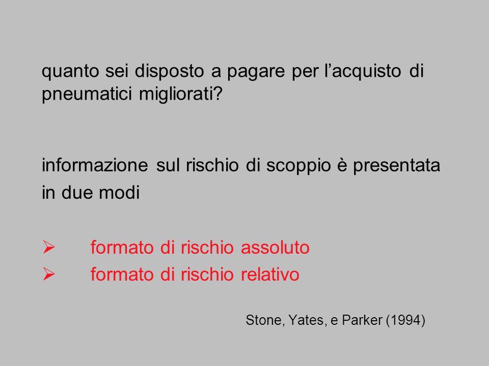 Stone, Yates, e Parker (1994) quanto sei disposto a pagare per lacquisto di pneumatici migliorati? informazione sul rischio di scoppio è presentata in