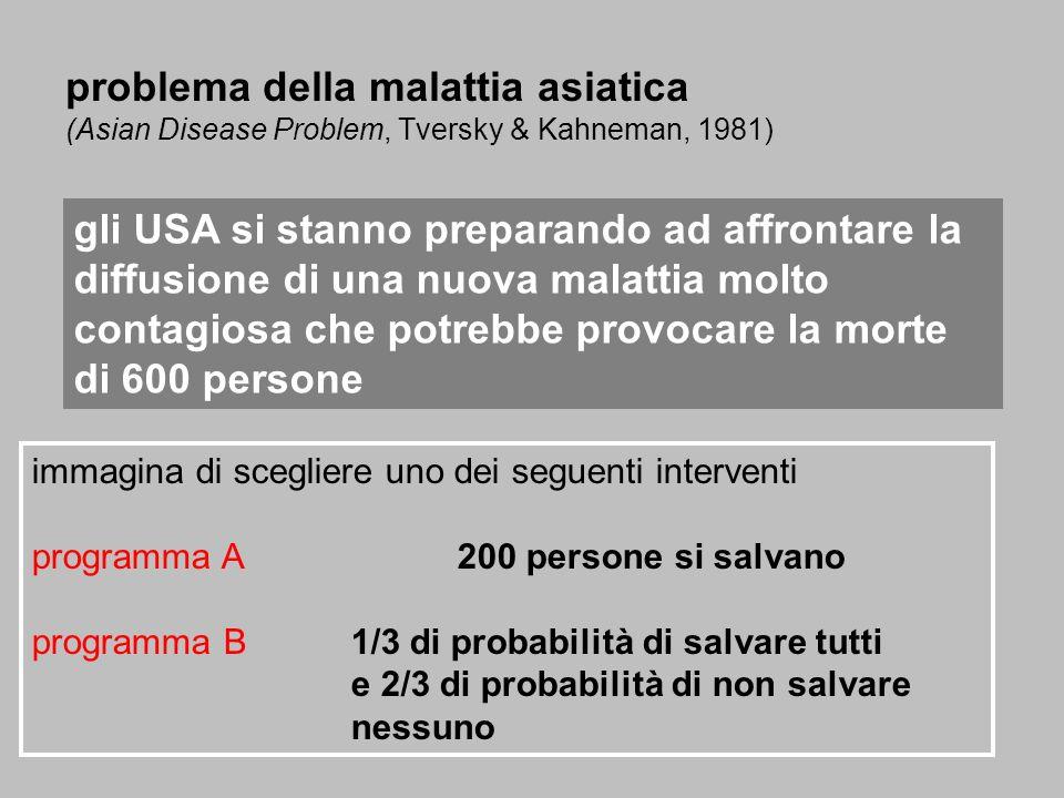 immagina di scegliere uno dei seguenti interventi programma A200 persone si salvano programma B1/3 di probabilità di salvare tutti e 2/3 di probabilit